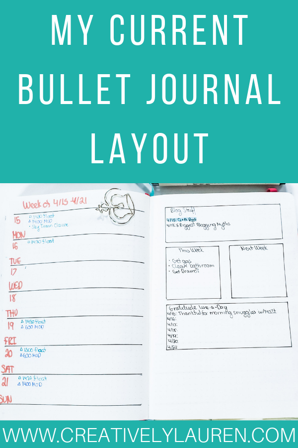 My Current Bullet Journal Layout